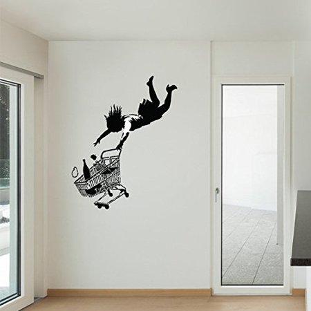 Fall Shopping Cart Banksy Wall Decal - Wall Sticker, Vinyl Wall Art ...