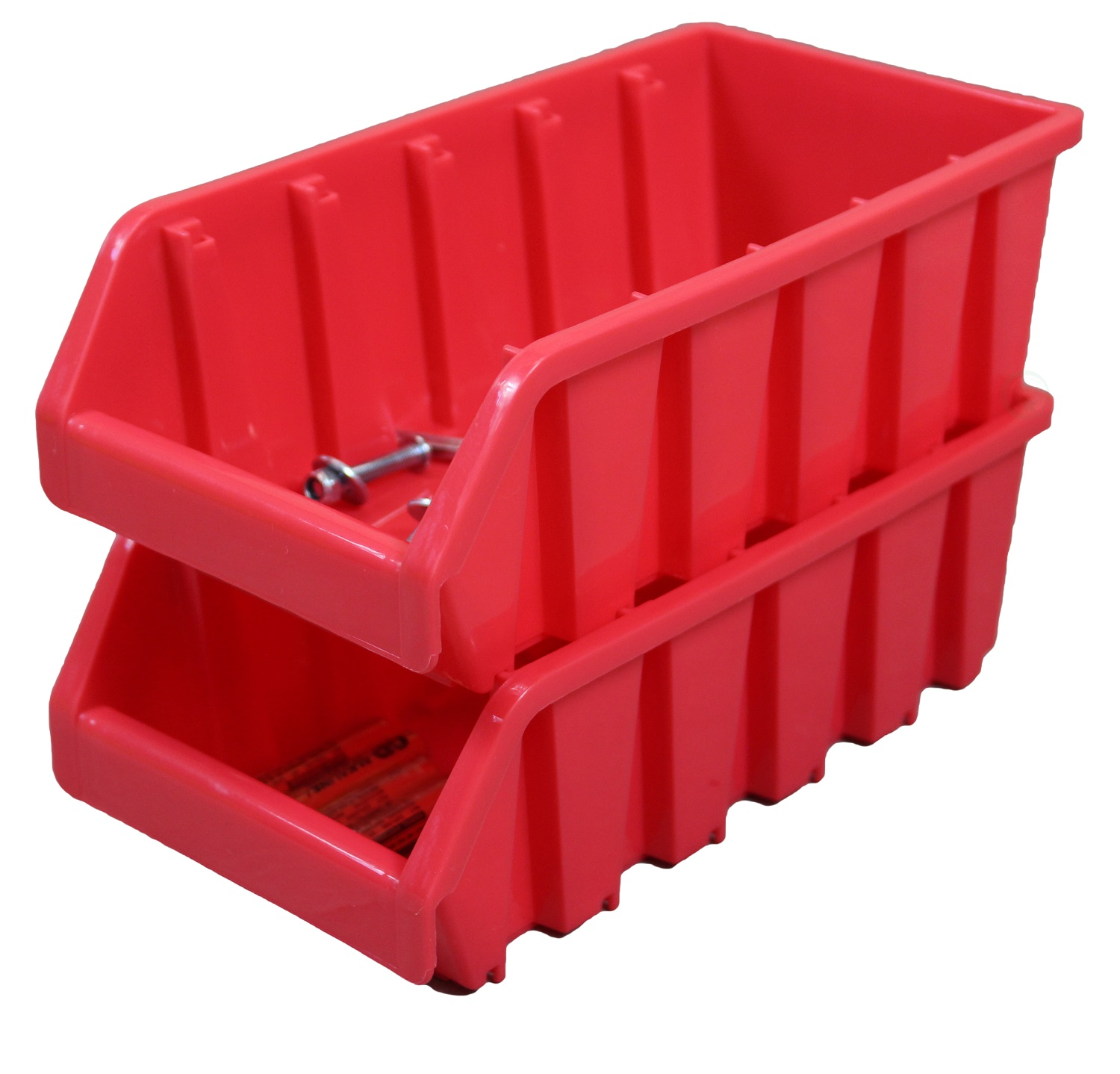 Set of 2 Plastic Storage Stacking Bins, Red