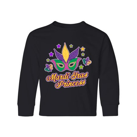 - Mardi Gras Princess with Mask and Stars Youth Long Sleeve T-Shirt