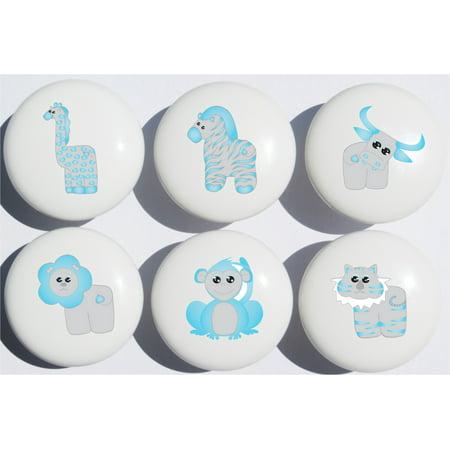 Blue Safari Drawer Pulls Jungle Ceramic Cabinet S Nursery Set Of 6