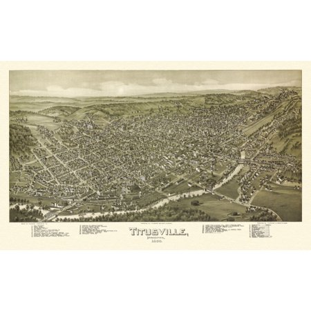Antique Map of Titusville Pennsylvania 1896 Crawford County Stretched Canvas -  (36 x 54)