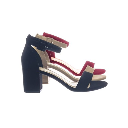 - Cake by City Classified, Minimalist Simple Chunky Block High Heel Dress Sandal w Ankle Strap