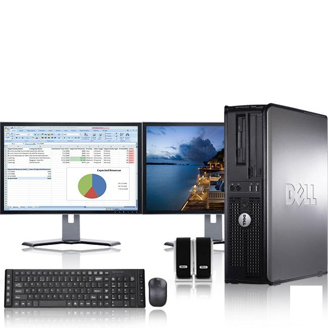 "Dell Optiplex Desktop Computer 3.0 GHz Core 2 Duo Tower PC, 8GB RAM, 1 TB HDD, Windows 10, , Dual 17"" Monitor (Brands Vary), Wireless Mouse & Keyboard"
