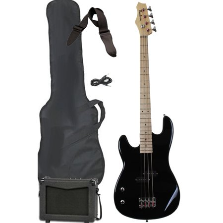 Davison Guitars Electric Bass Guitar Black Left Handed Full Size With Amp Strap Case Cord And Picks