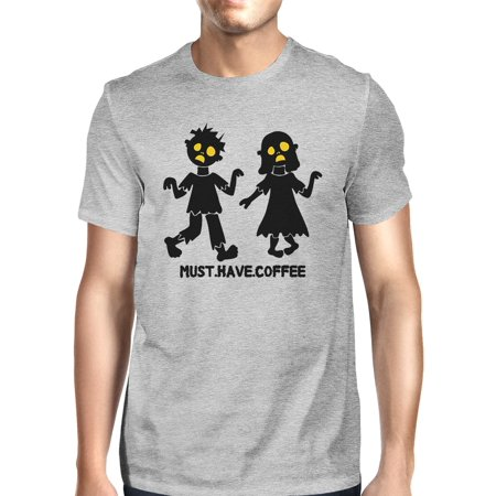 Must Have Coffee Zombies Mens Grey Shirt - Zombie Gifts For Men