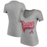 Women's New Era Heathered Gray Atlanta Braves Glitter Logo V-Neck T-Shirt