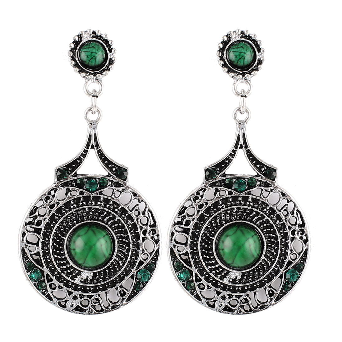 Unique Bargains Bohemian Style Green Bead Inlaid Dangle Ear Hook Earring Eardrop Pair