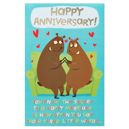 American Greetings Funny Three Little Words Anniversary Card with Foil