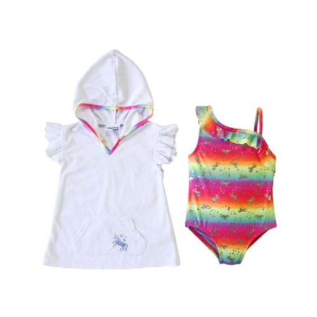 Freestyle Revolution Unicorn One-Piece Swimsuit & Terry Cover-Up, 2pc Set (Baby Girls & Toddler Girls) ()