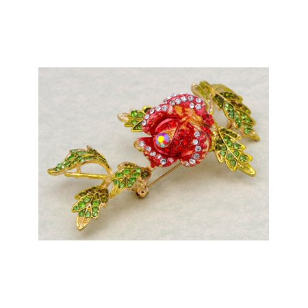 - Golden Tone Rhinestone Beautiful Rose with Leaves Statement Fashion Pin Brooch