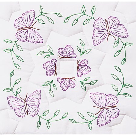 Jack Dempsey Interlocking Circle Of Butterflies Stamped White Quilt Blocks, 18