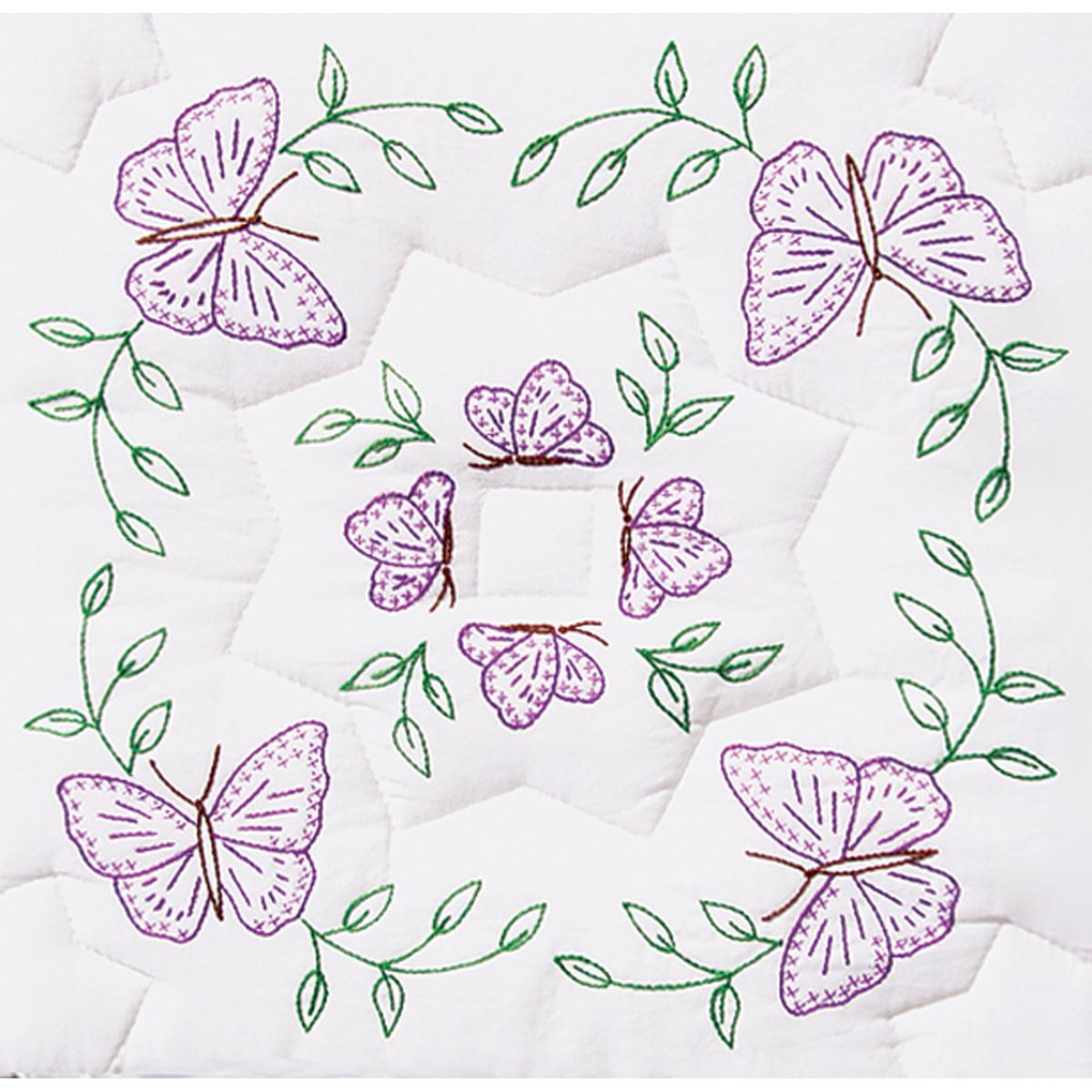 "Jack Dempsey Interlocking Circle Of Butterflies Stamped White Quilt Blocks, 18"" x 18"""