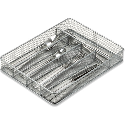 Honey-Can-Do Steel Mesh 5-Compartment Cutlery and Utensil Organizer Tray