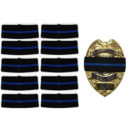10 Pack Thin Blue Line Stripe Black Police Officer Badge Shield Funeral Honor