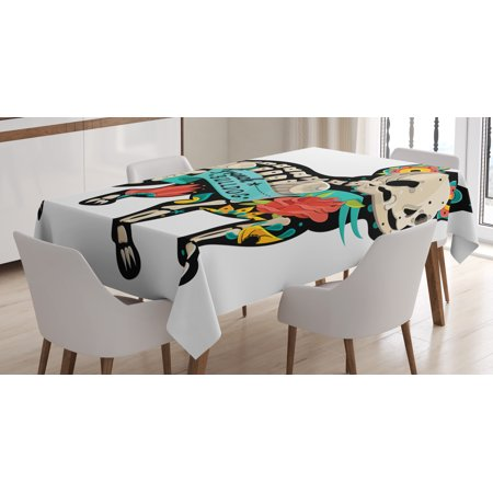 Bulldog Tablecloth, Gothic Artwork Puppy Silhouette with Skeleton and Colorful Flowers French Bulldog, Rectangular Table Cover for Dining Room Kitchen, 60 X 84 Inches, Multicolor, by - Bulldog Skeleton