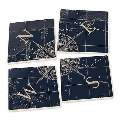 COMPASS ROSE Nautical Ceramic Coasters, Set of 4, by P. Graham (Rose Coaster)