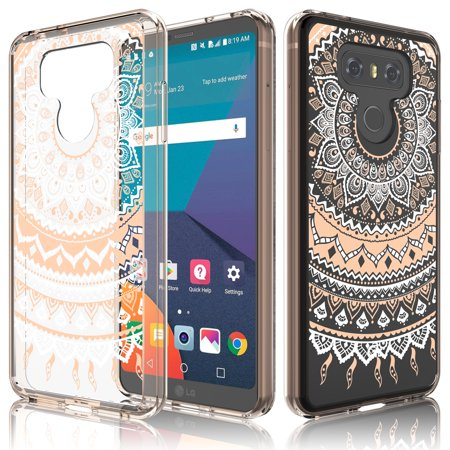 LG G6 Case, LG G6 Case For Girls, Tekcoo [TFlower] Retro Pattern Transparent Cute Lovely Adorable Ultra Slim Clear Hard TPU Skin Scratch-Proof Bumper Phone Cover Cases For LG G6 2017