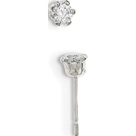 925 Sterling Silver Polished CZ Post (5x5mm) Earrings - image 2 de 2