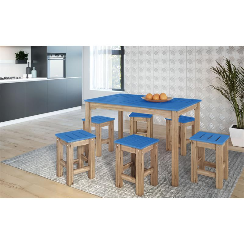 "7-Piece Stillwell 47.25""  Dining Set  in Blue and Natural Wood"
