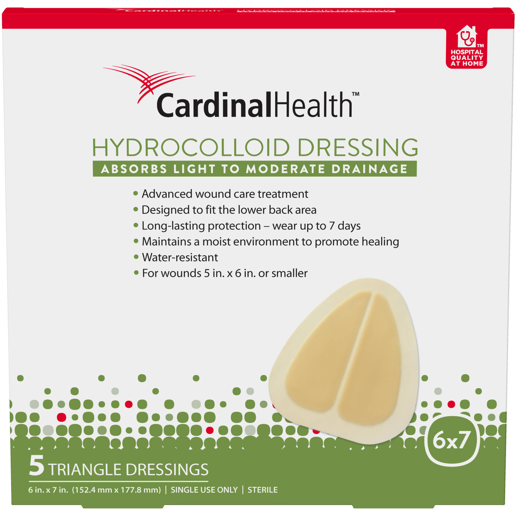 Cardinal Health Hydrocolloid Triangle Dressing, 5 count