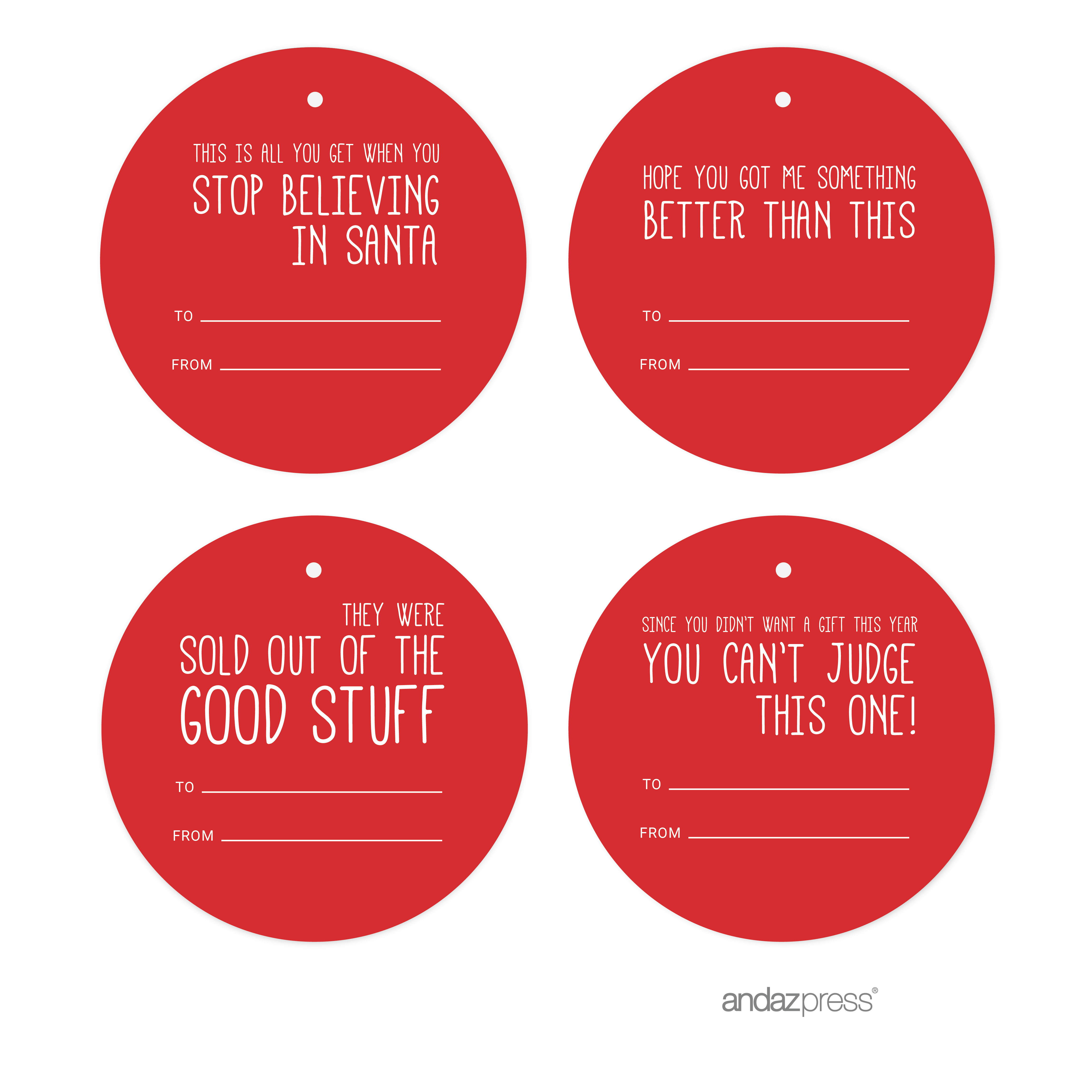 Red Funny & Witty Christmas Round Circle Gift Tags, 24-Pack