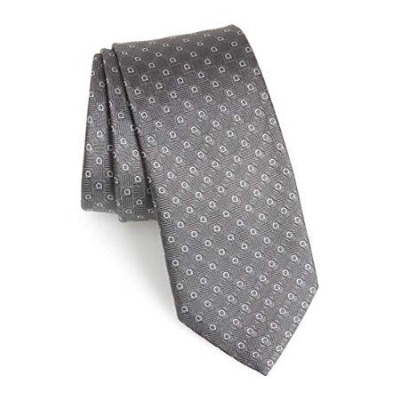 Ferragamo Necktie (Salvatore Ferragamo Men's Silver Gray Jacquard Gancini Skinny Neck Tie )