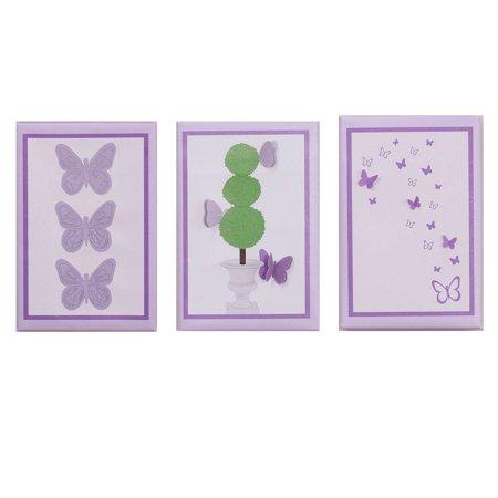 Petit Tresor Canvas Wall Art - Purple and Lavender Butterflies - Papillon 3 Piece Nursery Wall Hangings