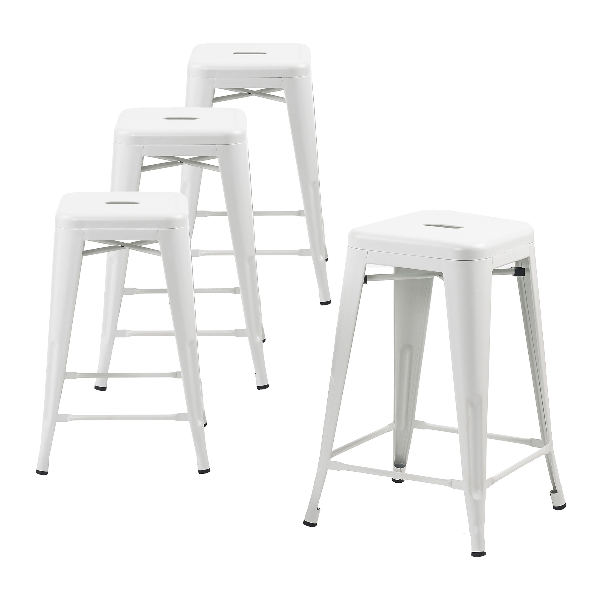 Buschman Set of Four Black 24 Inches Counter High Tolix-Style Metal Bar Stools, Indoor/Outdoor, Stackable