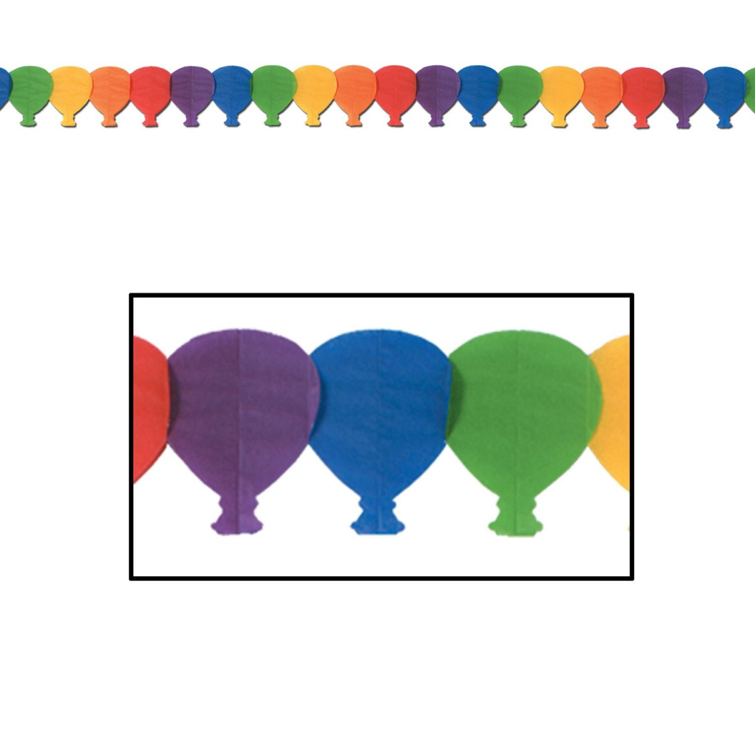 Club Pack of 12 Circus Themed Multi-Colored Tissue Balloon Garland Party Decorations 12'