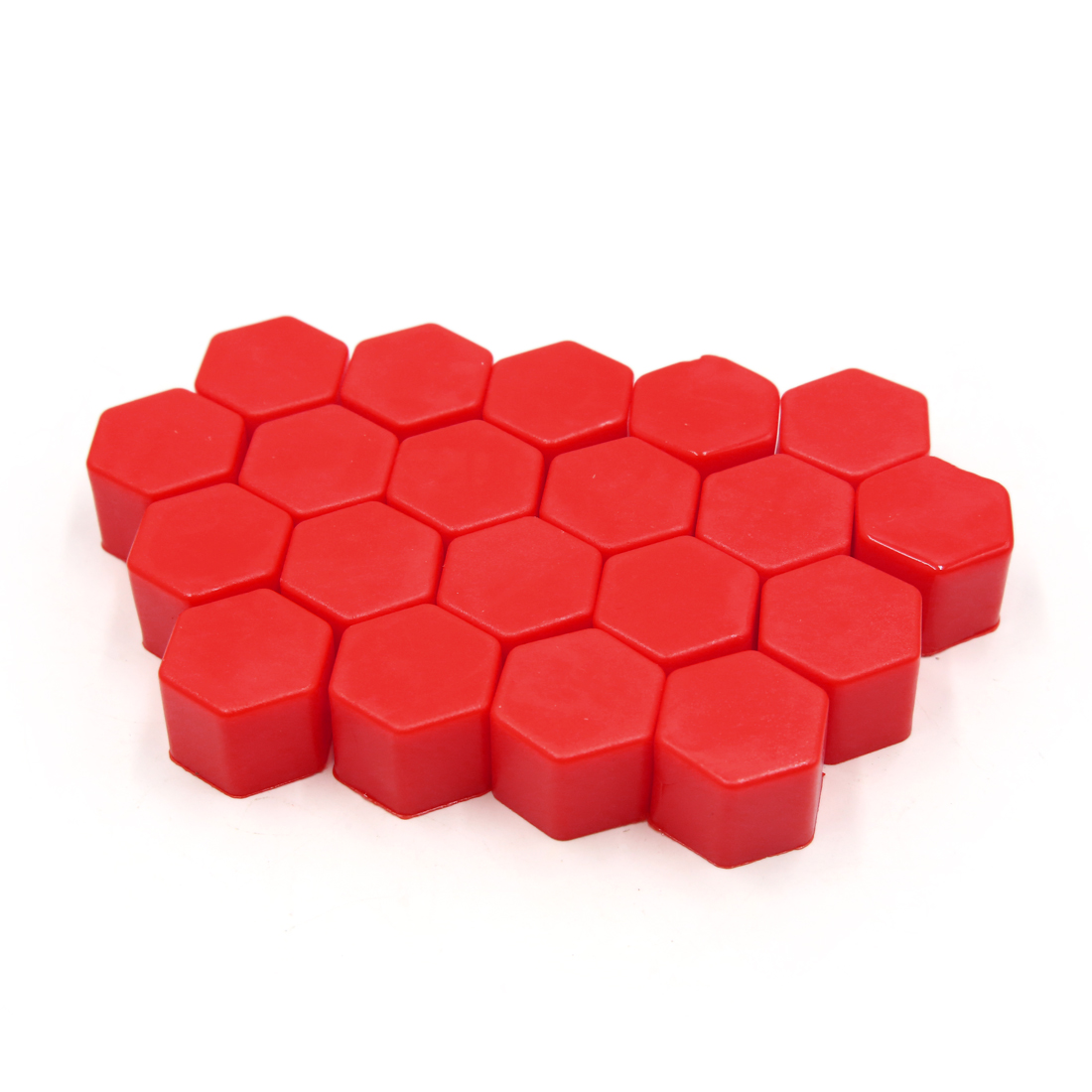 20 Pcs 17 x 19mm Red Car Vehicle Wheel Tyre Hub Screw Bolt Nut Cap Covers