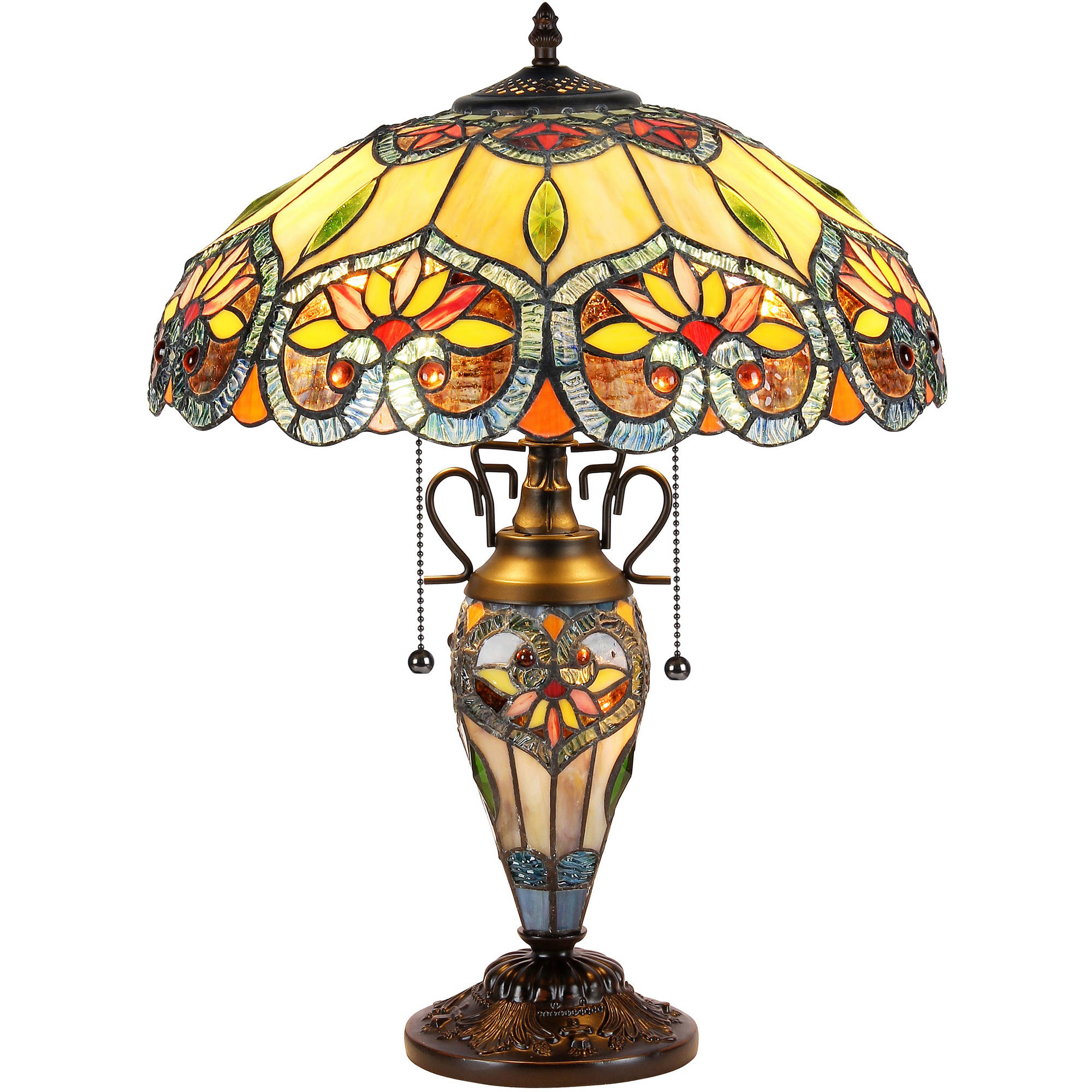 "Chloe Lighting Crystorama Tiffany-Style 3-Light Floral Double Lit Table Lamp with 16"" Shade by Chloe Lighting"