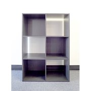 ST16715 Colonial 6-cell storage cube, black wood grain paper laminate on P/B, 3 cell see through, 3 cell with back board.
