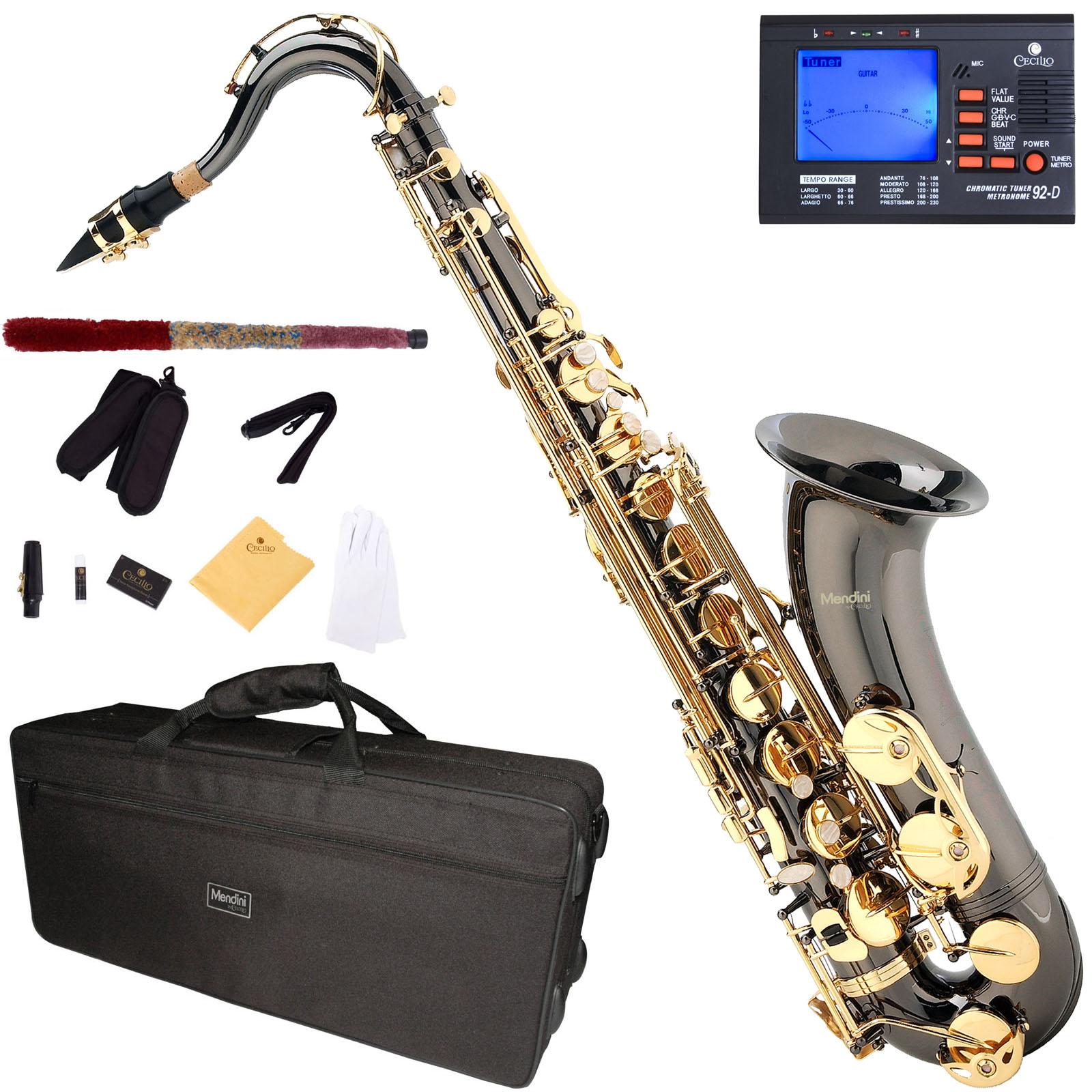 Mendini Black Nickel Plated Gold Keys Bb Tenor Saxophone with Tuner, 10 Reeds, Mouthpiece and Case, MTS-BNG