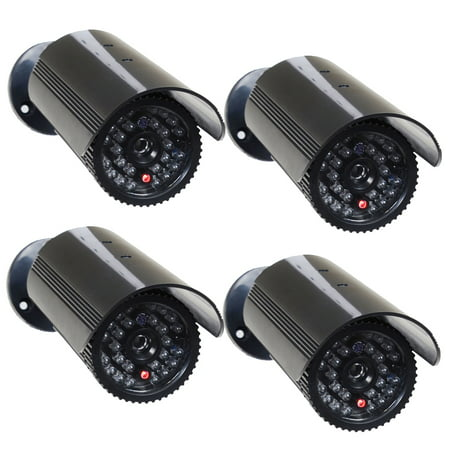 VideoSecu 4 Fake Surveillance Camera Dummy Infrared IR LED Light Home Security Camera with Blinking Flashing Light c4x