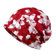 Printed Flower Camping Mountaineering Floral Baggy Beanies Hats For Women Female Caps Beanies 3 Colors