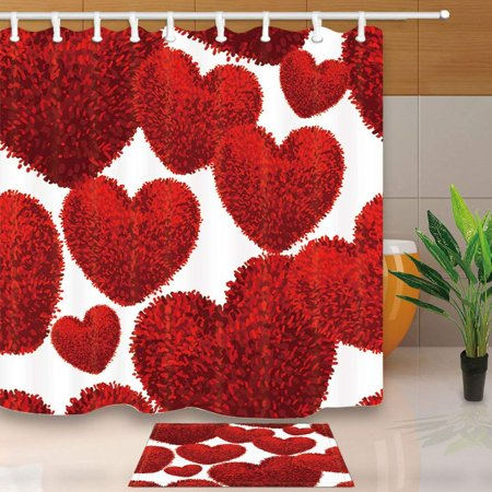 - BPBOP Valentine's Day Decor Red Fluffy Soft Heart Toys for Lover Shower Curtain 66x72 inches with Floor Doormat Bath Rugs 15.7x23.6 inches
