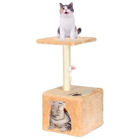 LIVINGbasics Cat Tree Condo Kitty Play House With Scratching Posts Tower Furniture, Beige - image 1 of 7