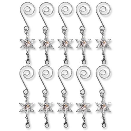 Christmas Ornament Hooks - Set of 10 Decorative S Hooks with Star Charm and a Lobster Claw Attachment - Decorative Hangers, DECORATIVE S HOOKS. Set of 10 silver.., By Banberry Designs