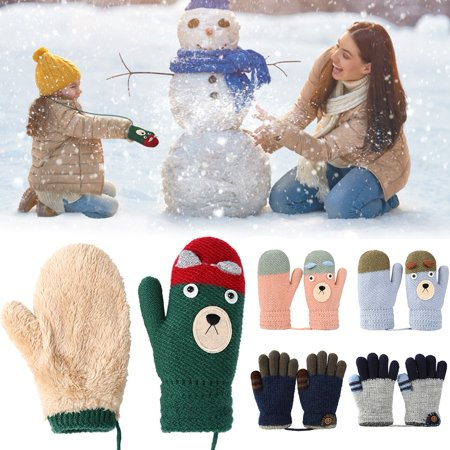 Kids Warm Knitted Gloves, Vbiger Winter Gloves Girls Boys Fleece Lined Full Finger Gloves for Children 4-6 Years Old - Old Globes