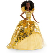 Barbie Signature 2020 Holiday Barbie Doll (12-inch Brunette Curly Hair) in Golden Gown