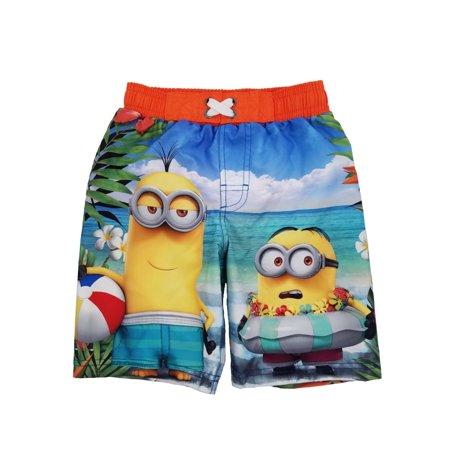 541295ba52 Despicable Me - Despicable Me Little Boys Hawaiian Minion Swim Trunks Board  Shorts 4 - Walmart.com