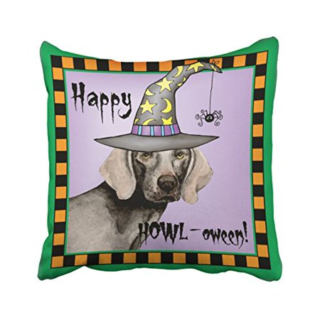 WinHome Halloween Weimaraner Witch Throw Pillow Covers Cushion Cover Case 18x18 Inches Pillowcases Two Side