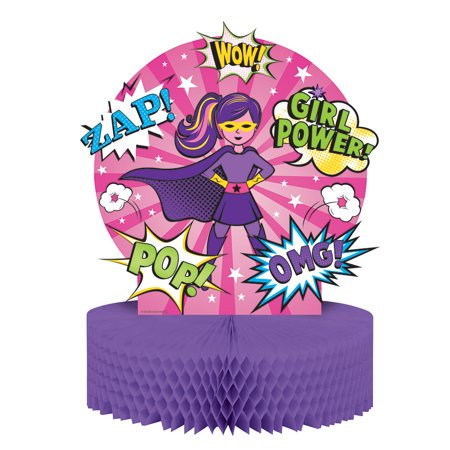 "13 Birthday (Pack of 6 ""Girl Superhero"" Honeycomb Tissue Birthday Table Centerpieces)"