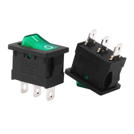 10A/125V 8A/250V SPST 3P 2 Position Green  Light Rocker Switch UL Listed ()