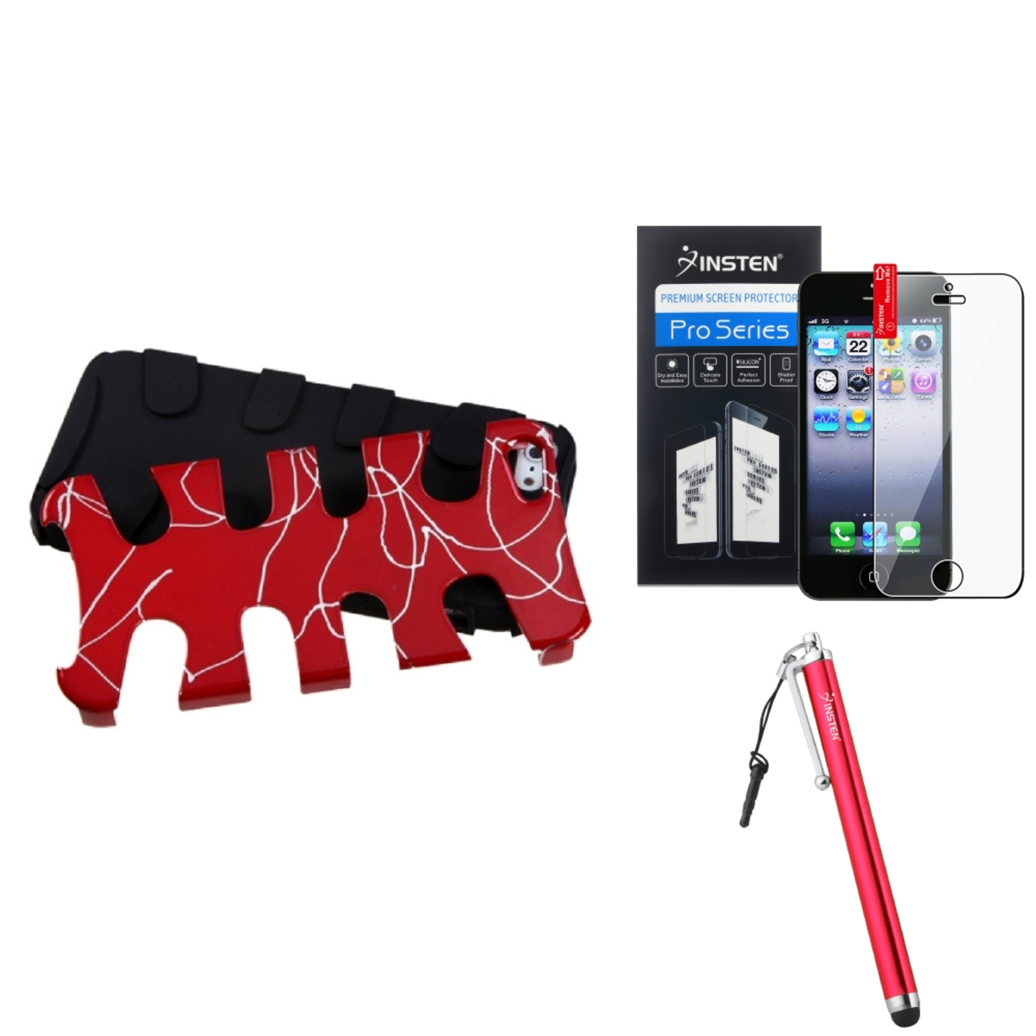 Insten Curved Lines Red/Black Fishbone Case For iPhone 5 / 5s + Stylus + Screen Guard