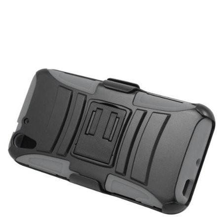 Insten Hard Hybrid Plastic Silicone Stand Case with Holster For HTC Desire Eye - Black/Gray