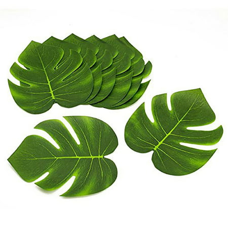 Coated Fabric Artificial Tropical Green Plant Leaves Hawaiian Luau Party Decoration (Set of 24 leaves), Perfect for a Hawaiian themed event. By Tytroy (Dark Light Party)