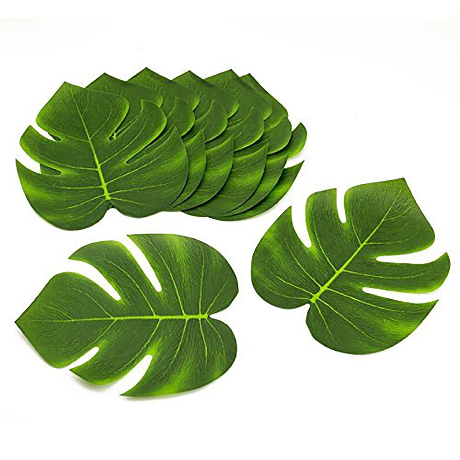 Coated Fabric Artificial Tropical Green Plant Leaves Hawaiian Luau Party Decoration (Set of 24 leaves), Perfect for a Hawaiian themed event. By Tytroy