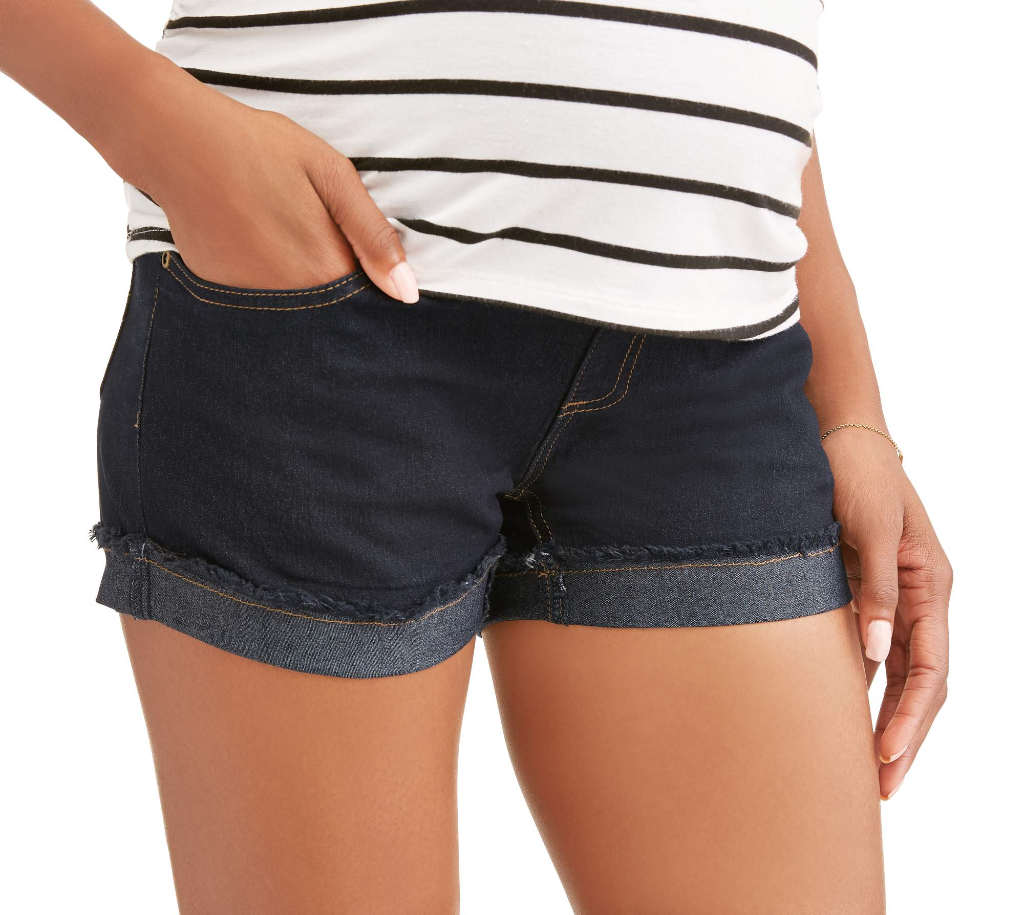 Maternity Full Panel Denim Shorts with Cuffed Frayed Hem-- Available in Plus Size by Generic