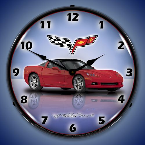 C6 Corvette Lighted Clock - Crystal Red